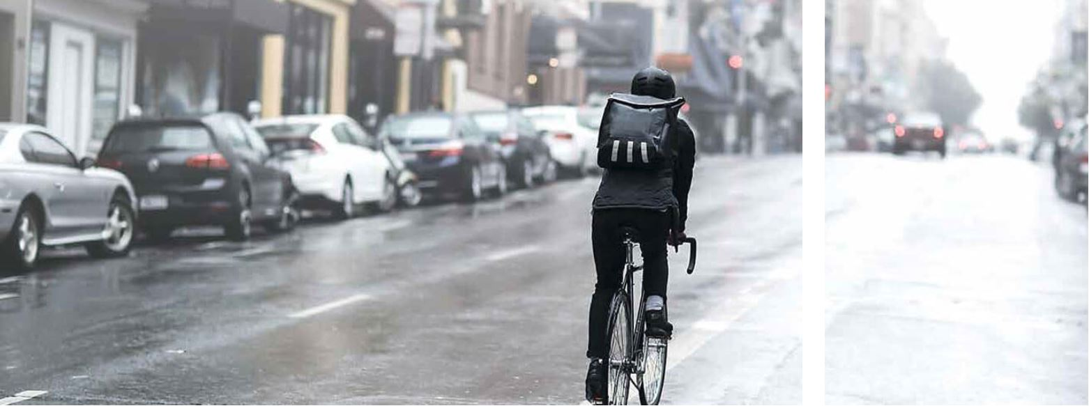 Biking in the City during Rain