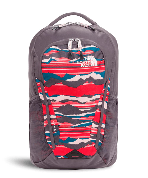 The North Face Womens Vault Backpack - Juicy Red Landscape Stripe Print/Rabbit Grey