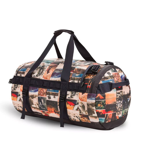 The North Face Base Camp Medium Duffel Bag - Pink Salt Workbook Print/Weathered