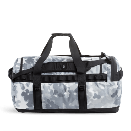 The North Face Base Camp Medium Duffel Bag - TNF White Macrofleck Camo Print/TNF Black